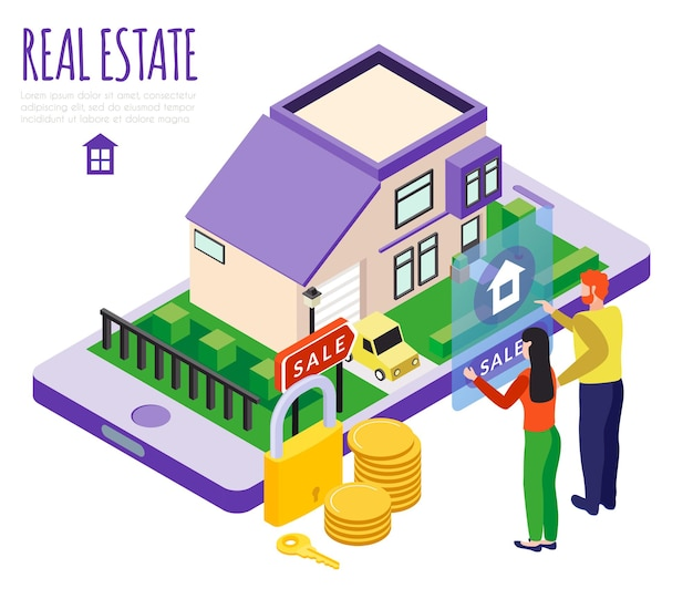 Composizione immobiliare di edifici di città isometrica con immagini concettuali di monete di persone di residenza privata e serratura