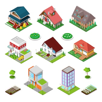 Isometric city buildings set. modern houses and cottages with flowers.   illustration