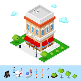 Isometric city. city cafe with tables and trees.