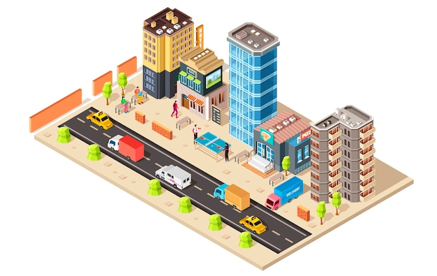 Isometric city concept  isolated on white