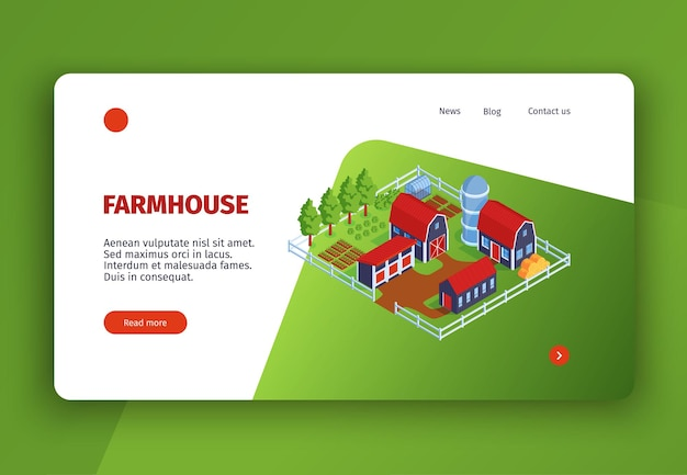 農場の建物のクリック可能なリンクとテキストの画像を含む等尺性の都市コンセプトのウェブサイトのランディングページ