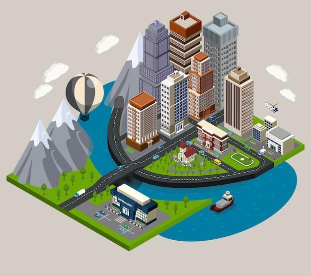 Isometric city concept