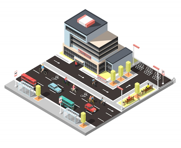 Isometric city constructor with bicycle traffic Free Vector