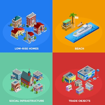 Isometric city elements and characters