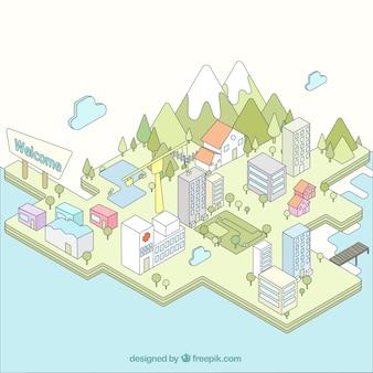 Isometric city, hand drawn style