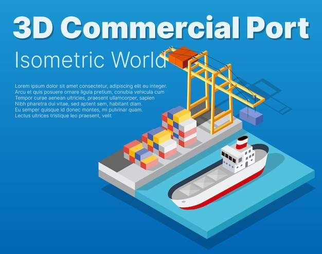 Isometric city industrial dock port with container cargo industry freight and transport boat naval ships