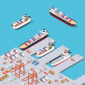 Isometric city industrial dock