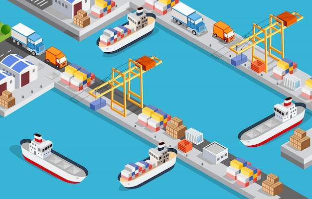 Isometric city industrial port with transport boat 3d illustration