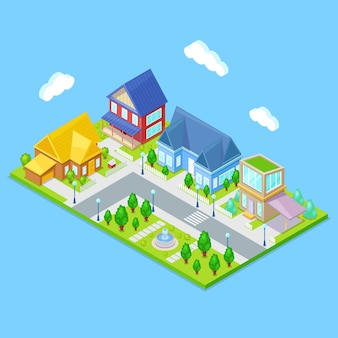 Isometric city infrastructure with houses, trees and fountain