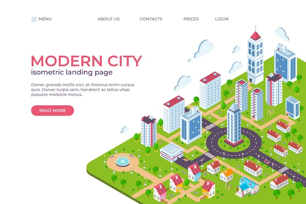 Isometric city landing page. 3d smart city concept with skyscrapers, business centers, streets and cars. vector illustration web page template, modern smart future town with skyscrapers other building