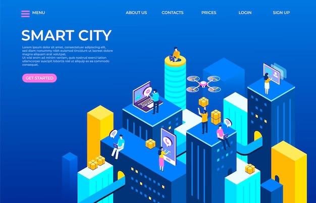 Изометрическая иллюстрация целевой страницы города