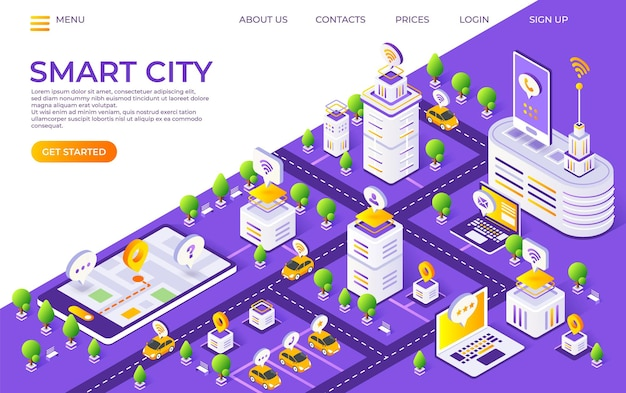Целевая страница изометрического города. концепция умного города с футуристическими зданиями и транспортом. векторная иллюстрация глобальной технологической веб-страницы инновационной платформы городов