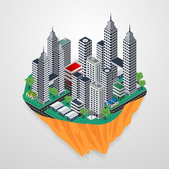 Isometric city landscape floating in the sky