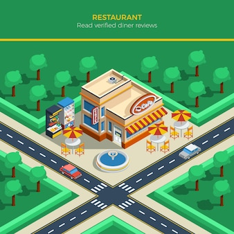 Isometric city landscape with restaurant building