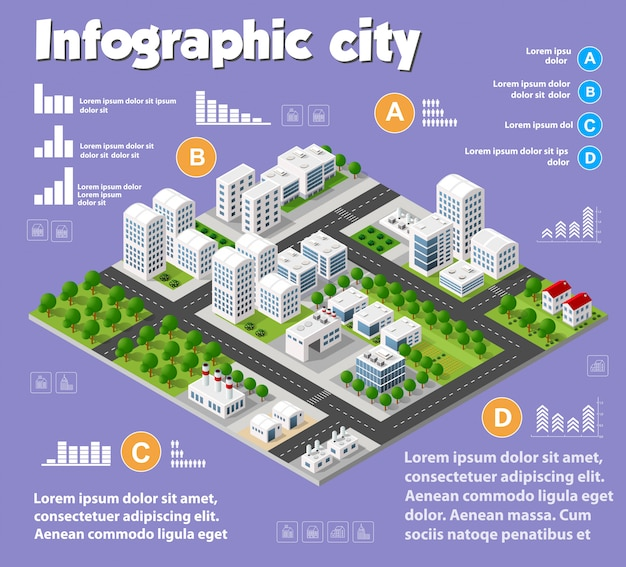 Isometric city map industry