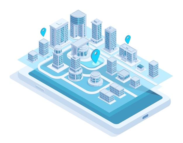スマートフォン画面上の等角都市地図モバイルナビゲーション。現代のスマートシティナビゲーションモバイルアプリのベクトル図。都市の建物のオンラインナビゲーション