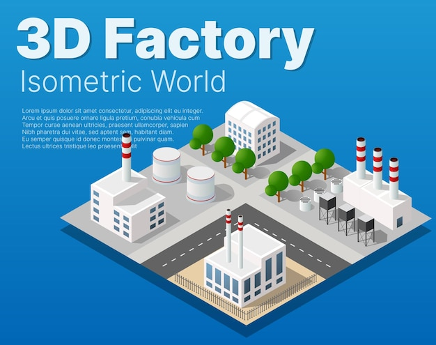 Isometric city module industrial urban factory which includes buildings, power plants, heating gas, warehouse. flat map isolated element