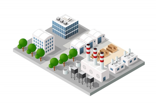 Isometric  city module industrial urban factory