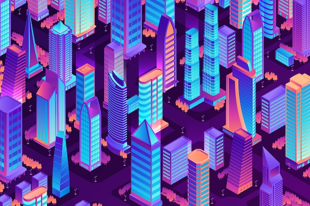 Isometric city night composition with view of neon colored city bird-eye view with tall houses
