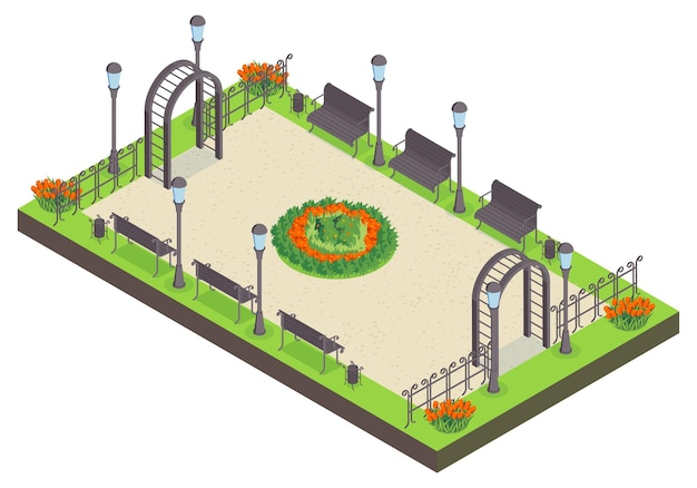 Isometric city park composition with view of public garden with benches flower bed lights and fence