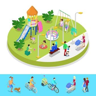 歩く人々との等尺性都市公園の構成