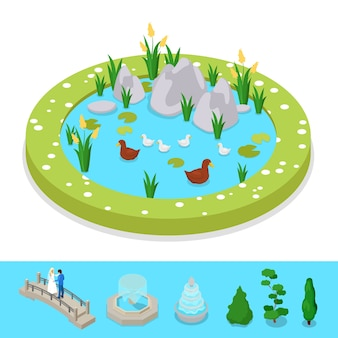 Isometric city park composition with water pond and ducks