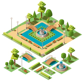 Isometric city park with design elements for garden landscape
