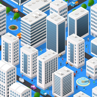 Isometric city quarter with houses, streets, people, cars.