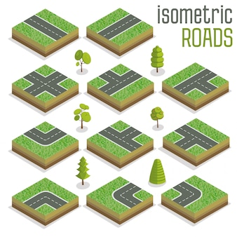 Isometric city road elements set with trees