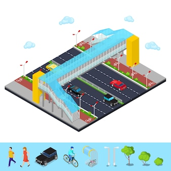 Isometric city road with pedestrian bridge and bicycle path