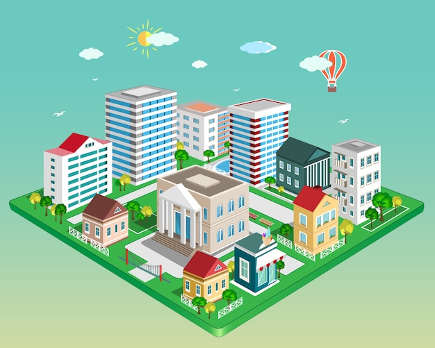 Isometric city. set of detailed isometric  buildings.  illustration