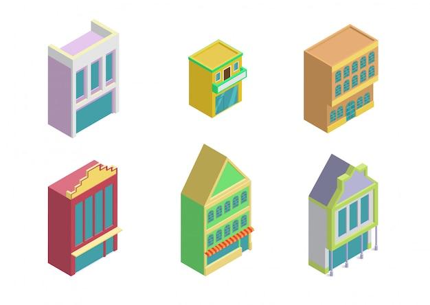 Isometric city shop buildings icon set