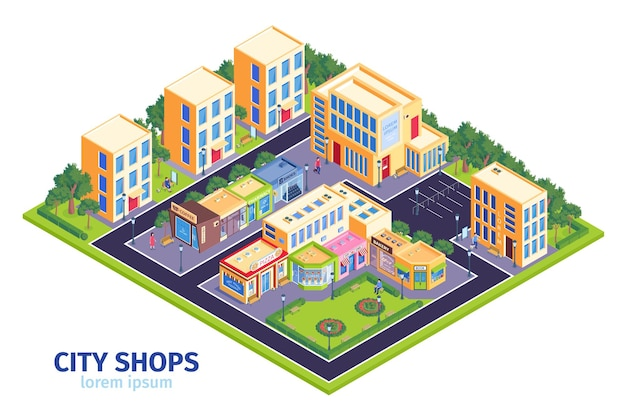 Isometric city shops illustration