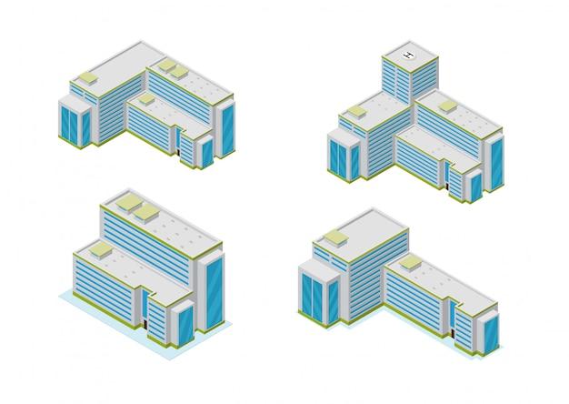 Изометрические город небоскребов зданий икона set