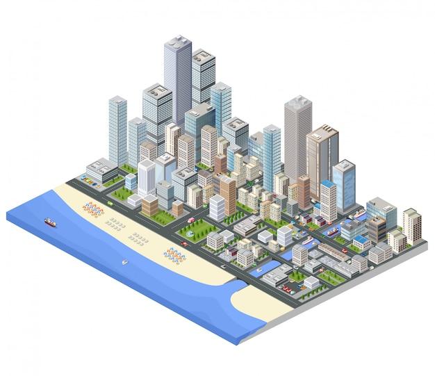 Изометрический город. небоскребы, дома и улицы в изометрическом виде мегаполиса
