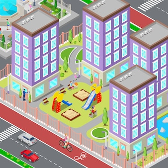 Isometric city sleeping dormitory area. modern yard with houses and playground. vector illustration