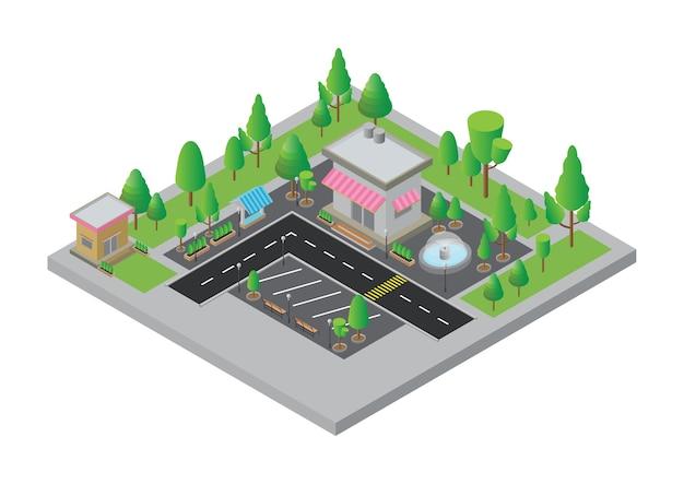 Изометрическая улица города и магазин