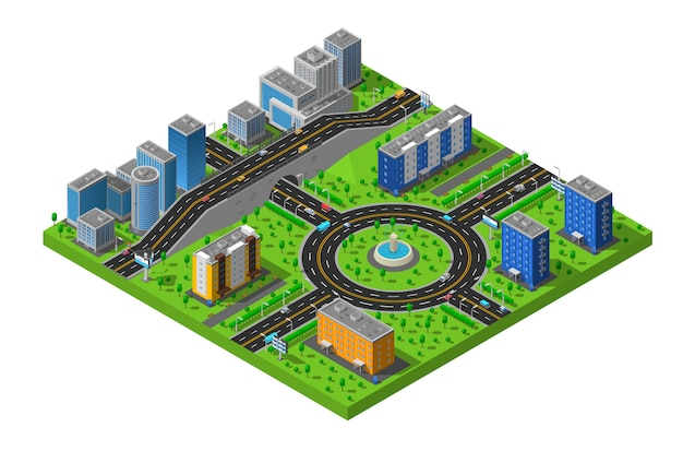 Isometric city street illustration