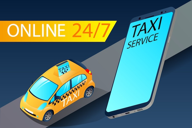 Isometric city taxi device app yellow
