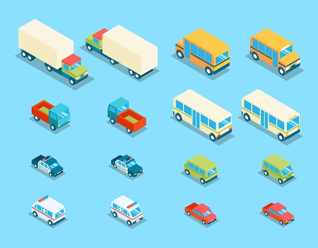 Установить изометрические городской транспорт 3d векторные иконки. транспортная машина, автомобиль и автомобиль, фургон и иллюстрация полиции