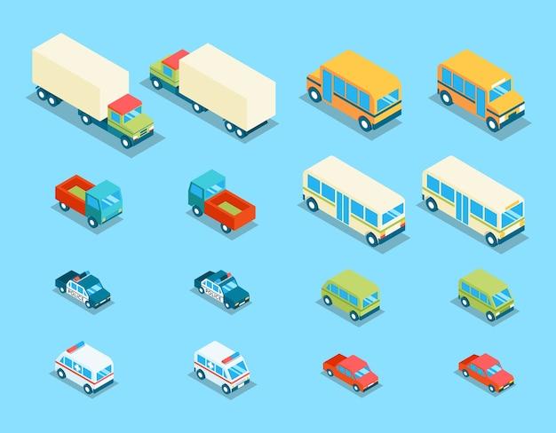 Icone di vettore 3d di trasporto città isometrica impostate. illustrazione di auto, auto e automobili di trasporto, furgoni e polizia