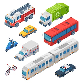 Isometric city transport. ambulance, police car and fire engine. subway train, town taxi and public bus. traffic cars  set