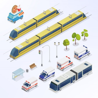 Isometric city. urban elements. isometric bus. isometric train. city transportation.