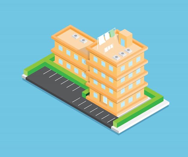 Изометрический город вектор дизайн на синем фоне