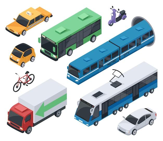Изометрические городские транспортные средства и общественный транспорт автомобиль поезд автобус мотоцикл такси грузовой автомобиль