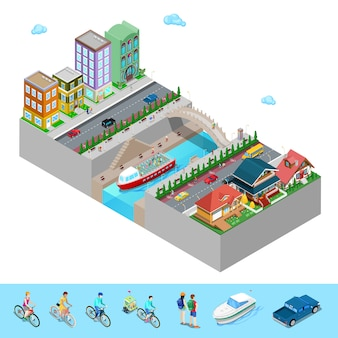 Isometric city view with buildings bridge embankment and river.