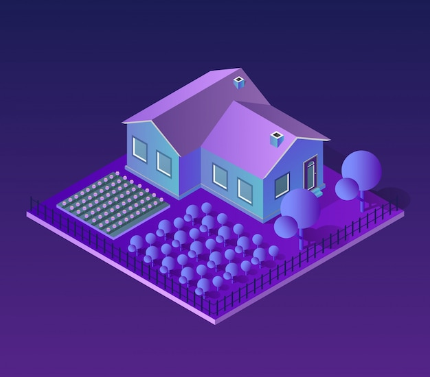 Isometric city of violet