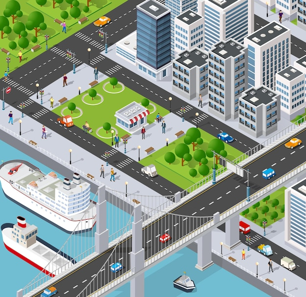 Isometric city with river embankment with people walking bridges, transport streets and ships