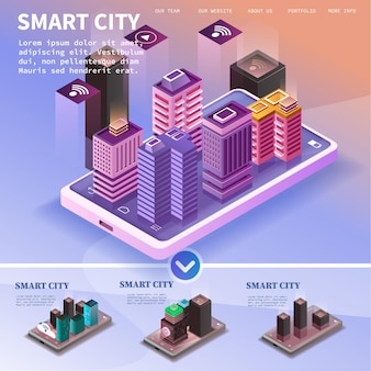 Isometric city with skyscrapers