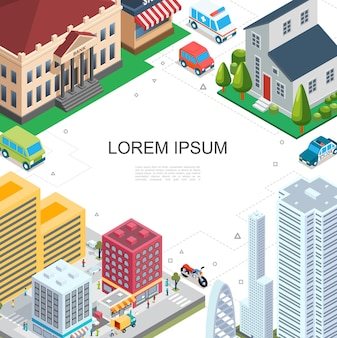 Isometric cityscape colorful template with modern buildings bank skyscraper estate people on street police ambulance cars motorcycle bus  illustration